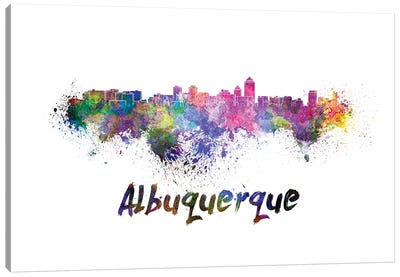 Albuquerque Skyline In Watercolor Canvas Art Print