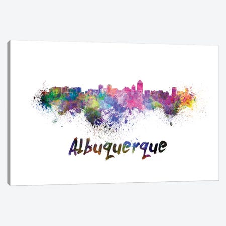 Albuquerque Skyline In Watercolor 3-Piece Canvas #PUR12} by Paul Rommer Canvas Print