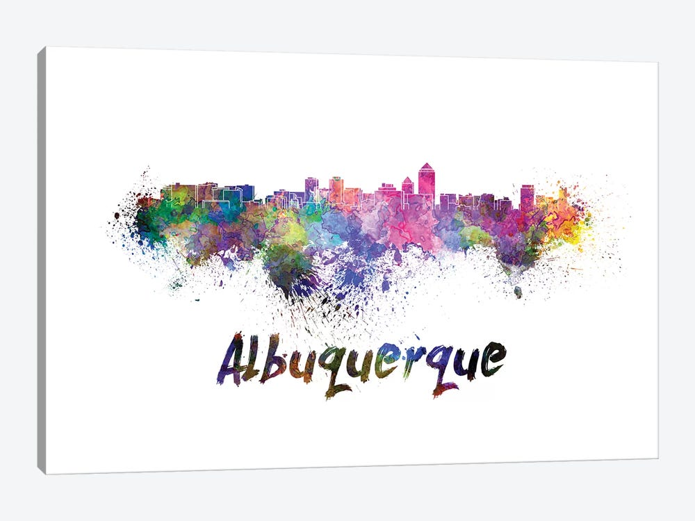 Albuquerque Skyline In Watercolor by Paul Rommer 1-piece Canvas Art Print