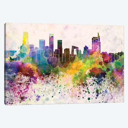 Beijing Skyline In Watercolor Background Canvas Print #PUR1303} by Paul Rommer Canvas Art Print