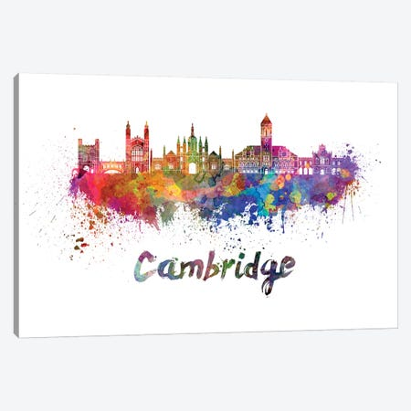 Cambridge Skyline In Watercolor Canvas Print #PUR130} by Paul Rommer Canvas Wall Art