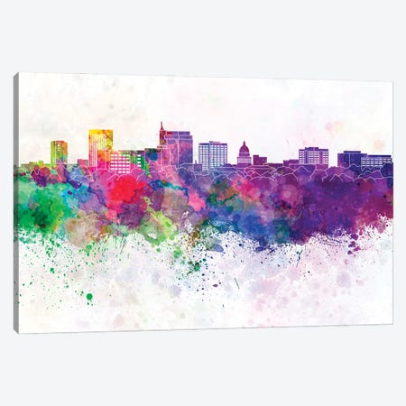Boise Skyline In Watercolor Background Canvas Print #PUR1319} by Paul Rommer Canvas Wall Art