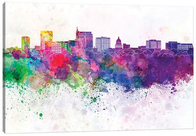 Boise Skyline In Watercolor Background Canvas Art Print