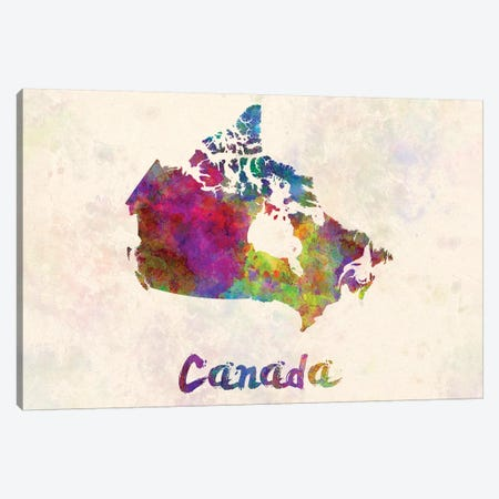 Canada In Watercolor Canvas Print #PUR131} by Paul Rommer Canvas Wall Art