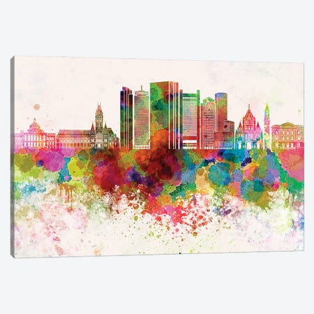 Boston V2 Skyline In Watercolor Background Canvas Print #PUR1324} by Paul Rommer Canvas Artwork