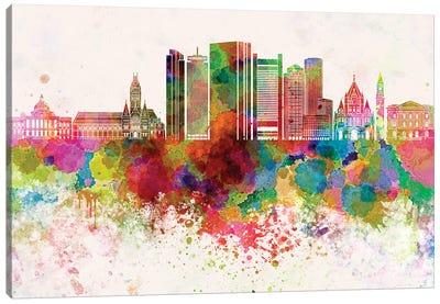 Boston V2 Skyline In Watercolor Background Canvas Art Print