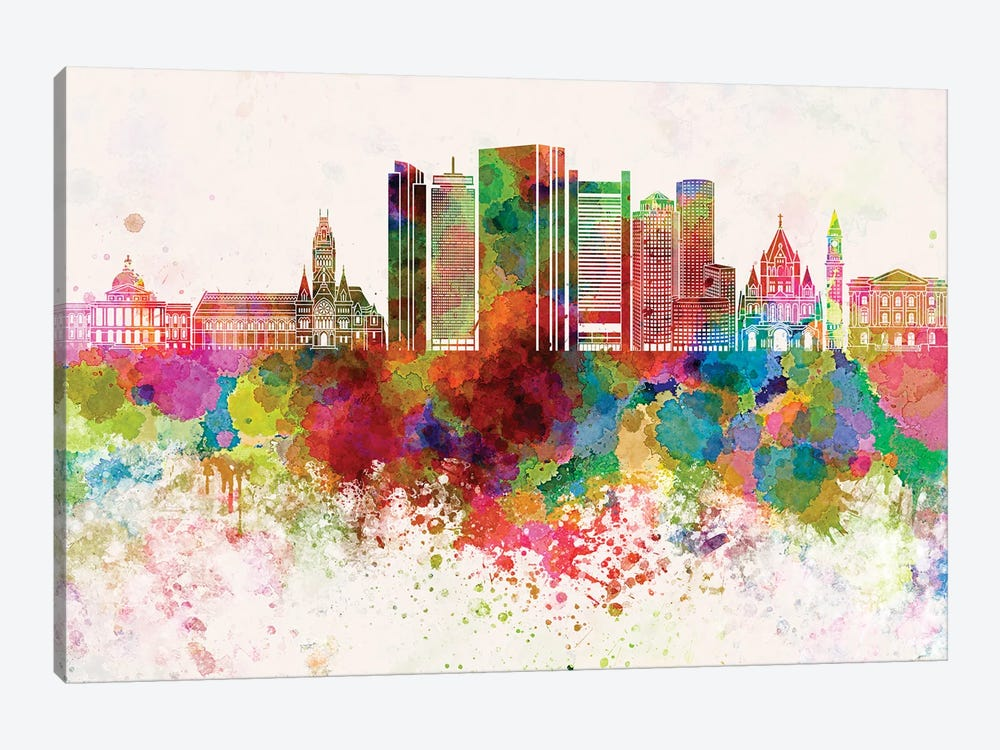 Boston V2 Skyline In Watercolor Background by Paul Rommer 1-piece Canvas Wall Art