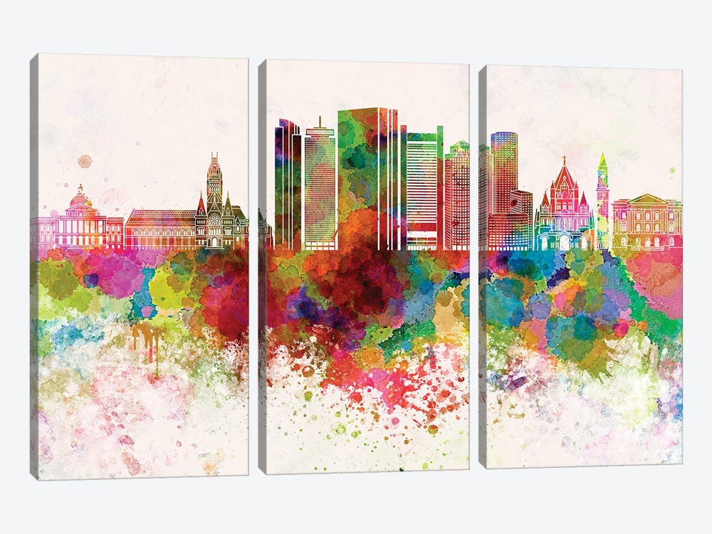 Boston V2 Skyline In Watercolor Background by Paul Rommer 3-piece Canvas Art