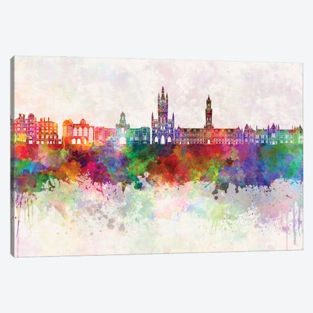 Bradford Skyline In Watercolor Background Canvas Print #PUR1325} by Paul Rommer Canvas Artwork