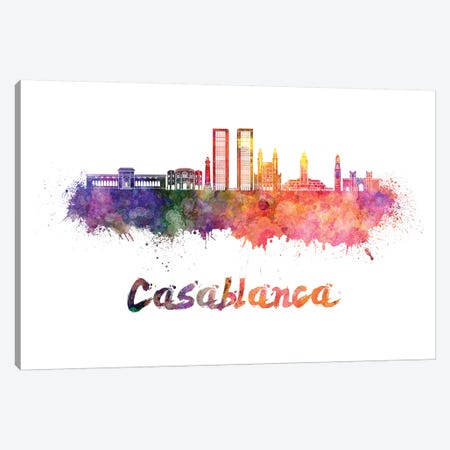 Casablanca Skyline In Watercolor Canvas Print #PUR132} by Paul Rommer Canvas Wall Art