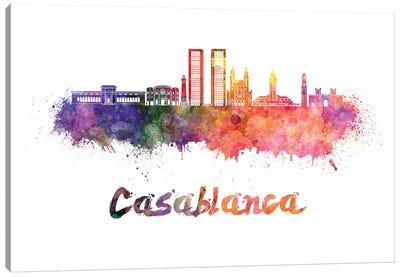 Casablanca Skyline In Watercolor Canvas Art Print
