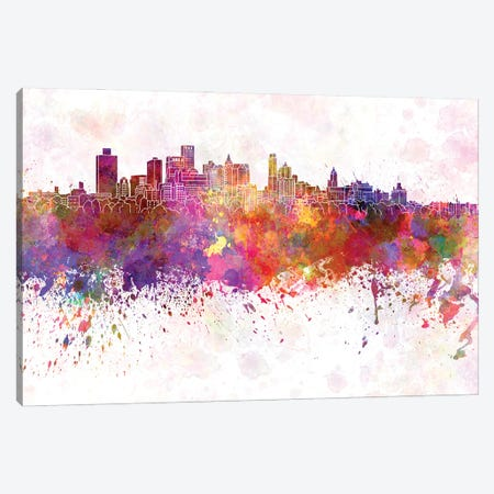 Brooklyn Skyline In Watercolor Background Canvas Print #PUR1335} by Paul Rommer Art Print