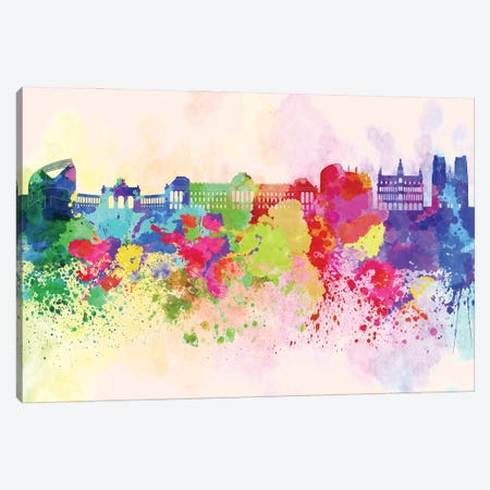 Brussels Skyline In Watercolor Background Canvas Print #PUR1337} by Paul Rommer Art Print