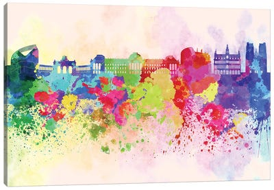 Brussels Skyline In Watercolor Background Canvas Art Print