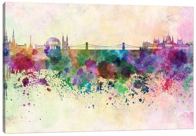 Budapest Skyline In Watercolor Background Canvas Art Print