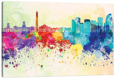 Buenos Aires Skyline In Watercolor Background Canvas Art Print