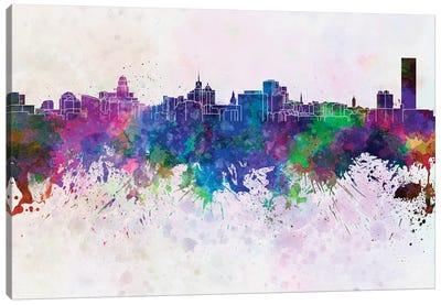 Buffalo Skyline In Watercolor Background Canvas Art Print