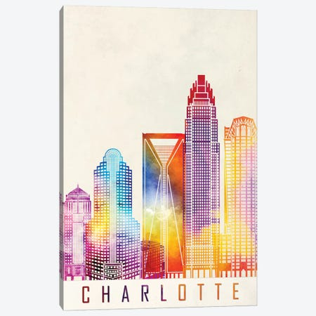 Charlotte Landmarks Watercolor Poster Canvas Print #PUR134} by Paul Rommer Canvas Art Print