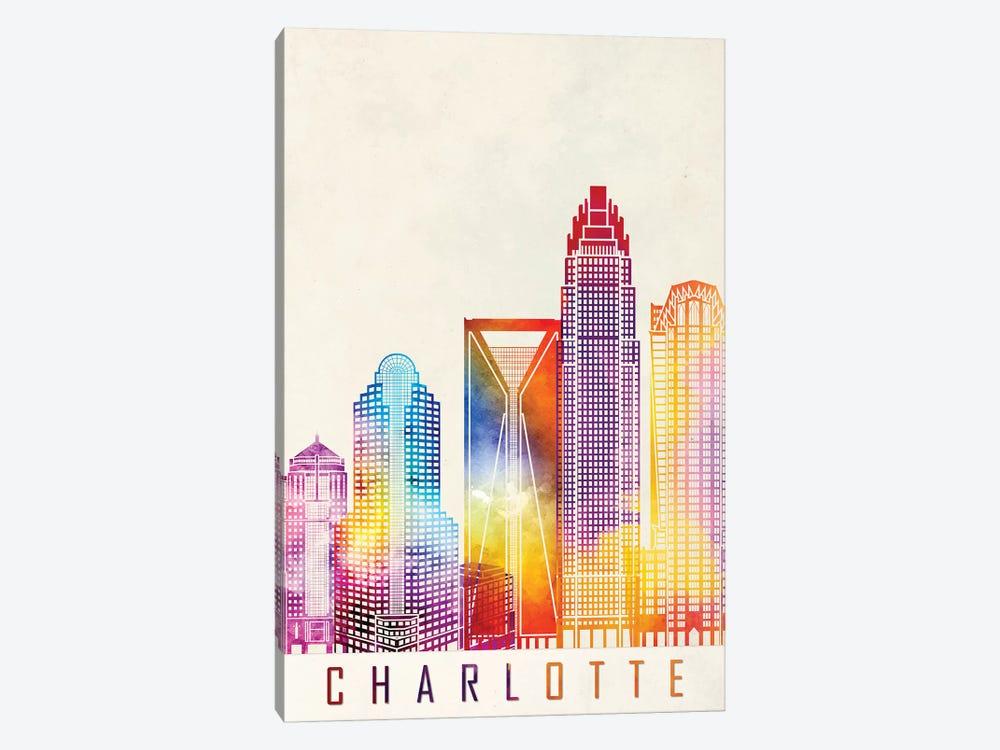 Charlotte Landmarks Watercolor Poster by Paul Rommer 1-piece Art Print
