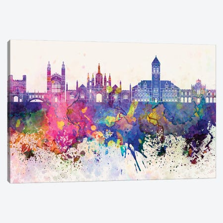 Cambridge Skyline In Watercolor Background Canvas Print #PUR1352} by Paul Rommer Canvas Art