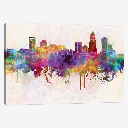 Charlotte Skyline In Watercolor Background Canvas Print #PUR1357} by Paul Rommer Canvas Art Print