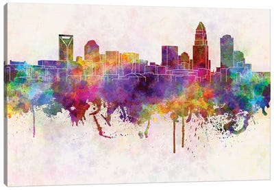 Charlotte Skyline In Watercolor Background Canvas Art Print