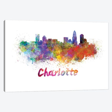 Charlotte Skyline In Watercolor Canvas Print #PUR135} by Paul Rommer Art Print