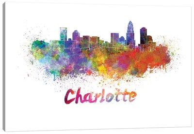 Charlotte Skyline In Watercolor Canvas Art Print
