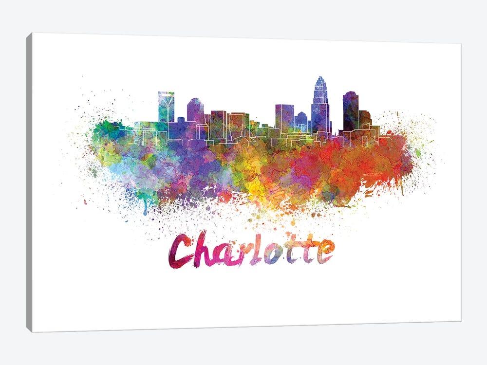 Charlotte Skyline In Watercolor by Paul Rommer 1-piece Canvas Wall Art