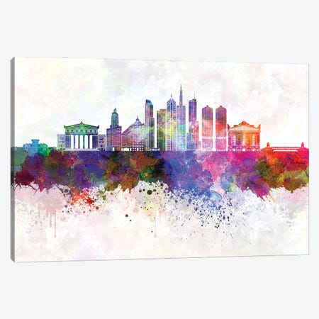 Chicago II Skyline In Watercolor Background Canvas Print #PUR1363} by Paul Rommer Canvas Art Print