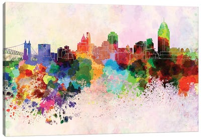 Cincinnati Skyline In Watercolor Background Canvas Art Print