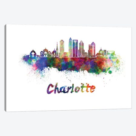 Charlotte Skyline In Watercolor II 3-Piece Canvas #PUR136} by Paul Rommer Art Print