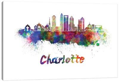 Charlotte Skyline In Watercolor II Canvas Art Print