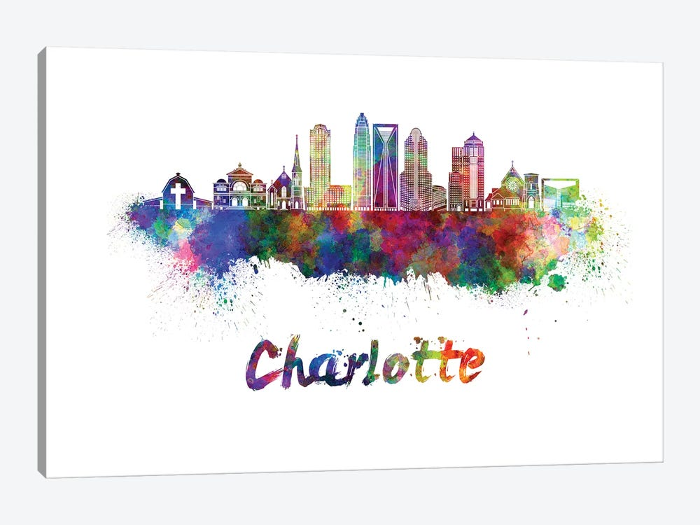 Charlotte Skyline In Watercolor II by Paul Rommer 1-piece Canvas Art Print