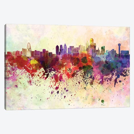Dallas Skyline In Watercolor Background Canvas Print #PUR1382} by Paul Rommer Canvas Print