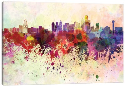 Dallas Skyline In Watercolor Background Canvas Art Print