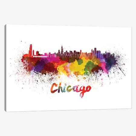 Chicago Skyline In Watercolor Canvas Print #PUR138} by Paul Rommer Canvas Artwork