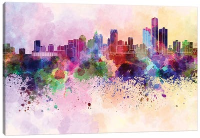 Detroit Skyline In Watercolor Background Canvas Art Print