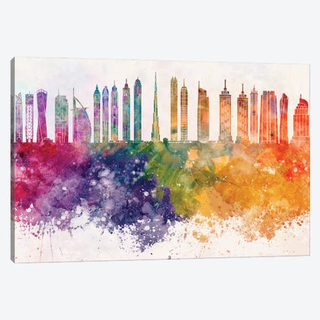 Dubai II Skyline In Watercolor Background Canvas Print #PUR1398} by Paul Rommer Canvas Wall Art