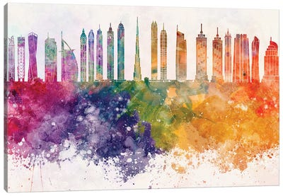 Dubai II Skyline In Watercolor Background Canvas Art Print