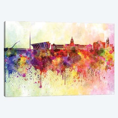 Dublin Skyline In Watercolor Background Canvas Print #PUR1399} by Paul Rommer Canvas Art