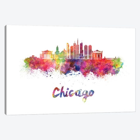 Chicago Skyline In Watercolor II Canvas Print #PUR139} by Paul Rommer Canvas Artwork