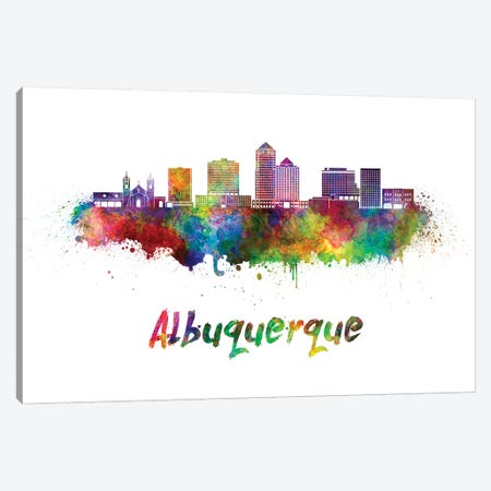 Albuquerque Skyline In Watercolor II Canvas Print #PUR13} by Paul Rommer Canvas Print
