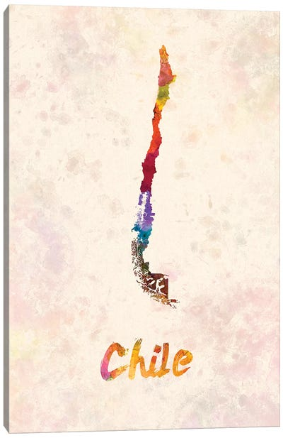 Chile In Watercolor Canvas Art Print