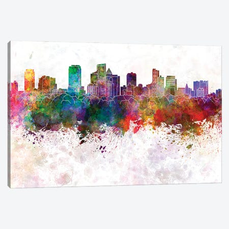 Fort Lauderdale Fl Skyline In Watercolor Background Canvas Print #PUR1418} by Paul Rommer Canvas Art Print