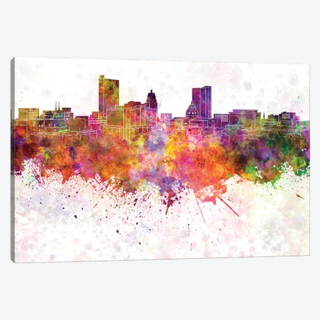 Fort Wayne Skyline In Watercolor Background Canvas Print #PUR1419} by Paul Rommer Canvas Art Print