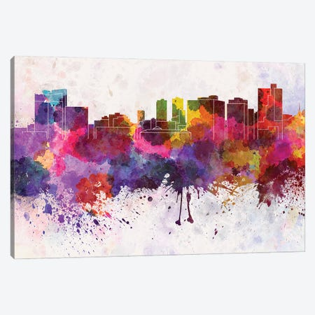 Fort Worth Skyline In Watercolor Background Canvas Print #PUR1420} by Paul Rommer Canvas Art