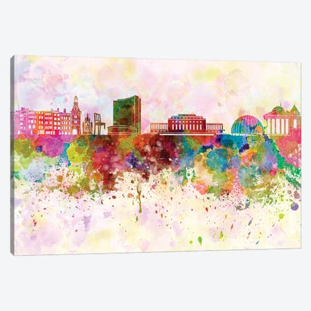 Geneva Skyline In Watercolor Background Canvas Print #PUR1429} by Paul Rommer Canvas Art