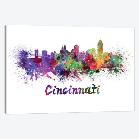Cincinnati Skyline In Watercolor Canvas Print #PUR142} by Paul Rommer Canvas Art Print