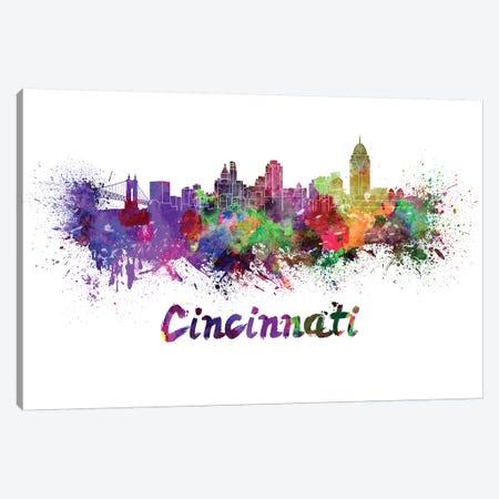 Cincinnati Skyline In Watercolor Canvas Print #PUR142} by Paul Rommer Canvas Art Print